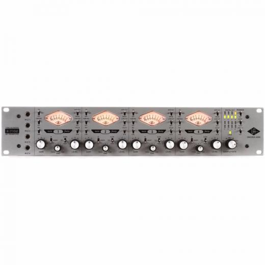Preamplificador de 4 canales a tubo y transistor, con knob de combinación de ambos, conversor A/D de 8 canales 24bit/192kHz, y entrada DI JFET discreta.