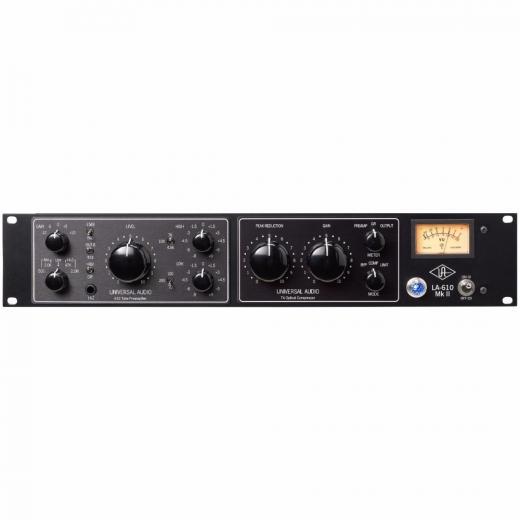 Preamplificador a tubo 610 con ecualizador y compresor óptico tipo LA-2A, con conexiones para micrófono, línea e instrumento.