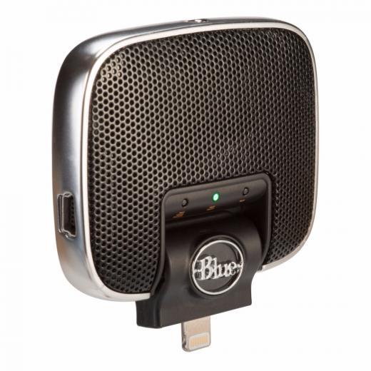 Micrófono estéreo para iPhone/iPad/iPod con conector Lightning, switch de ganancia de 3 posiciones y entrada de 1/8¨ con auto-detección.
