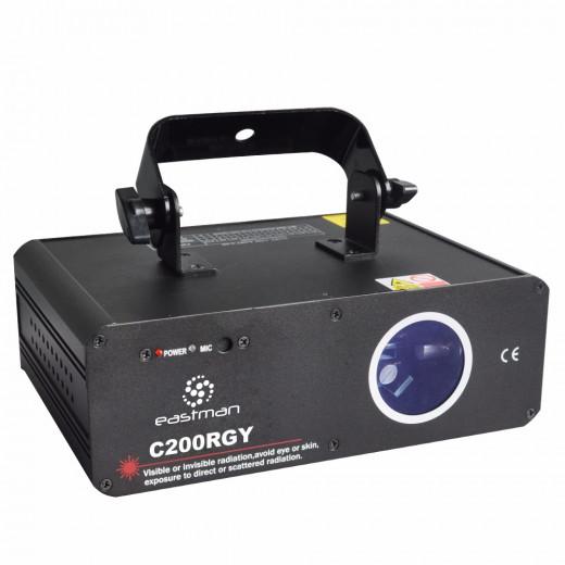 laser con control de temperatura, Motor Micro-step, 150mW Rojo, 50mW Verde, activacion por sonido, DMX512, 100 Presets pre-programados
