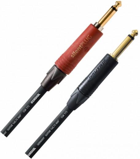 Cable Plug 1/4 TS a Plug 1/4 TS, Desbalanceado, Conector Neutrik Silent ( 1 lado ), soldado a mano, Impedancia: 76 pF / m (capacidad)