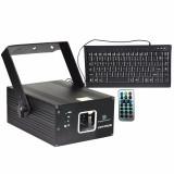 laser de edicion y proyeccion de texto, Motor Micro-step, 150mW Rojo, 50mW Verde, 150mW Azul, activacion por sonido, DMX512, 100 Presets pre-programados