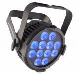 Efecto de wash LED RGBA en cualquier clima, La pantalla OLED del panel de control, conectores IP de alimentación y DMX