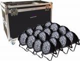 16 Par Led RGBWA+UV 18x12W +Flycase, Fuente de luz:  lámparas LED 18 × 12W (RGBWA-UV 6 en 1), Ángulo de haz: 25 ° / 40 °