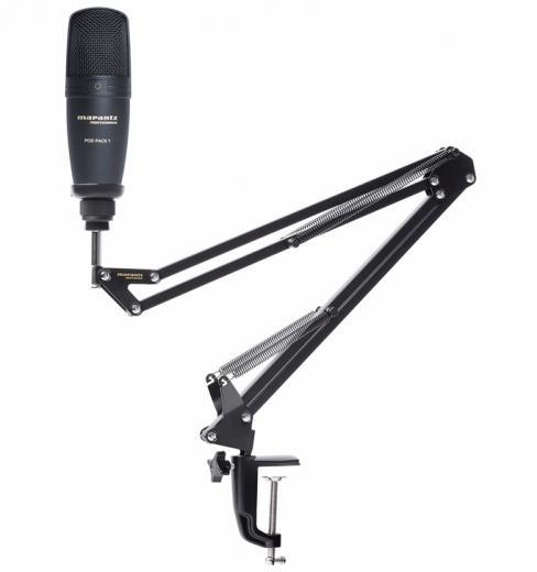 Micrófono condensador cardioide USB para broadcast, con brazo telescopico ajustable y cable USB. 20Hz-17kHz, 132 dB SPL.