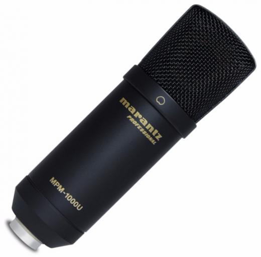 Micrófono condensador cardioide USB para grabación en estudio y podcast, con soporte y cable USB. 20Hz-17kHz, 132 dB SPL, conversor 48kHz/16-bit.