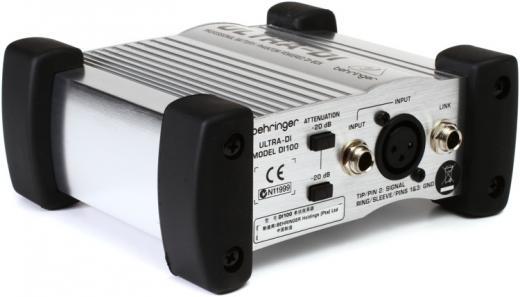 Caja DI con batería / alimentación Phantom con atenuación de entrada conmutable y elevación de tierra