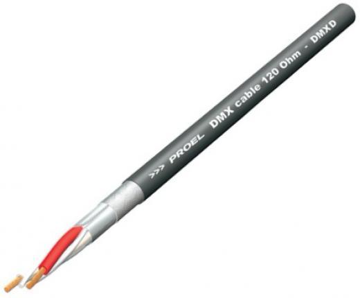 Cable de par trenzado de impedancia constante DMX 1 con cubierta de PVC flexible de pequeño diámetro y resistente a las llamas.