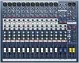12 preamplificadores de micrófono, ecualizador de 3 bandas por canal y medición de peak con LED