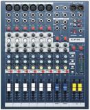 6 preamplificadores de micrófono, 6 monos, 2 estereos, ecualizador de 3 bandas por canal y medición de peak con LED