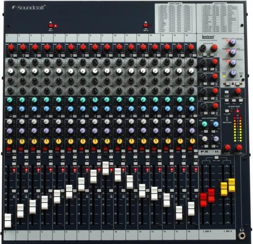 Funciones en vivo y grabación, pre o post fader conmutable individualmente para uso con sistemas de grabación de 16 pistas, LED clip y 32 efectos