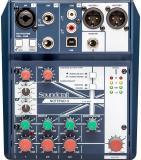 Mezclador analógico de 5 canales con 1 preamplificador de micrófono, entrada directa, alimentación Phantom, 2 canales estéreo de nivel de línea y conectividad USB