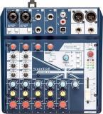 Mezclador analógico de 8 canales con 2 preamplificadores de micrófono, entrada directa, alimentación phantom, 3 canales estéreo de nivel de línea, efectos digitales léxicon y conectividad USB
