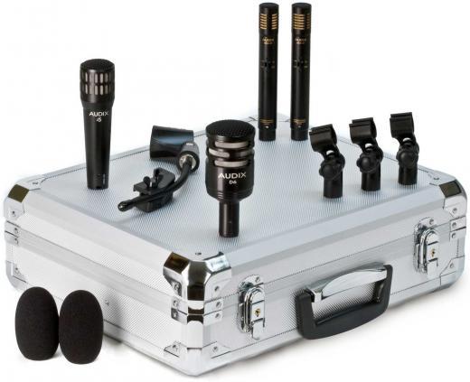 Kit de 4 micrófonos dinámicos cardioides para batería, con 3 clamps, clip, y maleta de aluminio. Incluye 1 D6 (bombo), 2 ADX51, 1 i5.