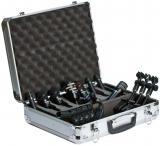 Kit de 8 micrófonos dinámicos cardioides para batería, con 3 clamps, clip, y maleta de aluminio.