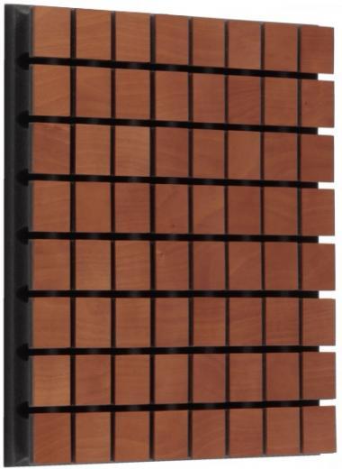 Revolucionario panel mejorado al agregar una superficie de madera, tratamiento de frecuencias medias y bajas, máximo efecto entre 400 y 1250 Hz