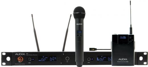 2 micrófonos, uno de solapa y otro de mano con receptor inalámbrico doble R42 rackeable, banda A (522-554 MHz) o B (554-586 MHz), 50Hz - 16kHz.