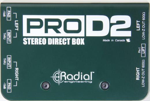 2 canales estéreo DI con transformador de aislamiento, almohadilla de 15dB e interruptor de elevación