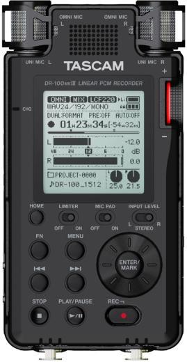 Grabadora digital portátil de 2 canales con resolución de hasta 24 bits / 192 kHz, preamplificadores HDDA de bajo ruido, pares de micrófono AB estéreo y omnidireccional y modos de grabación dual