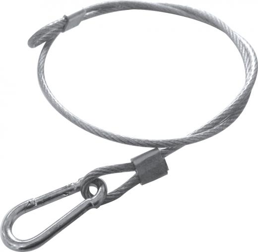 Cable acerado, recubierto en plastico transparente, 4 mm de espesor, grillete de seguridad
