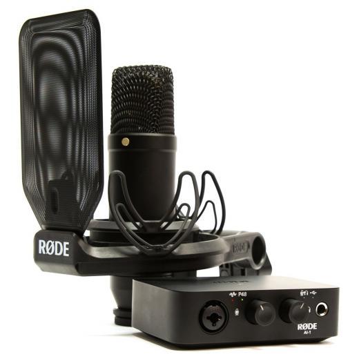 Micrófono de condensador cardioide de gran diafragma con interfaz de audio USB de 1 canal, Shockmount, Pop Shield y cable XLR