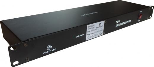Distribuidor Amplificador, Panel de control 8 salidas DMX, 2 entradas DMX, Tamaño standard de Rack de 2 espacios