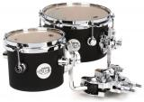 "Toms Concert de 6"" y 8"" con HVLT Maple Shells, Hardware de Chrome y DWSM992 Double Tom Mount - Black Satin"