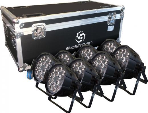 8 Par Led RGBWA + UV, Fuente de luz: lámparas LED 18 × 12W (RGBWA-UV 6 en 1), Ángulo de haz: 25 ° / 40 °