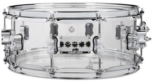 """Caja de acrílico de 14""""x 6"""" con carcasa de 1.2 mm y Triple-flanged Hoops - Transparente"""