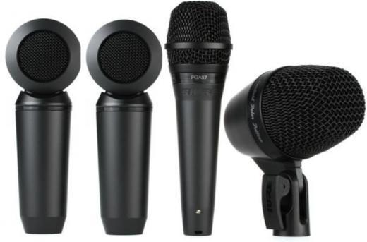 Kit de micrófono de 4 piezas con Shure PGA52, Shure PGA57, 2 Shure PGA181s, Clips, cables y estuche