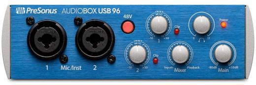 Interfaz de grabación USB 2.0 de 24 bits / 96 kHz de 2 canales con 2 preamps de instrumento / micrófono, monitorización de baja latencia y software Studio One 3 Artist (Mac / PC) y contenido adicional