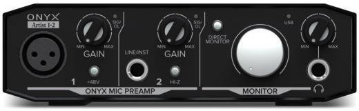 Interfaz de audio USB 2.0 de 2 entradas y 2 salidas, 24 bits / 192 kHz, con 1 preamplificador de micrófono Onyx, monitoreo directo de latencia cero y paquete de software - Mac / PC