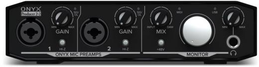 Interfaz de audio USB 2.0 de 2 entradas y 2 salidas, 24 bits / 192 kHz, con 2 preamplificadores de micrófono Onyx, monitoreo directo de latencia cero, E / S MIDI y paquete de software - Mac / PC