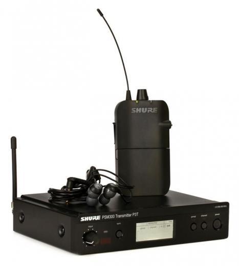 Sistema de monitoreo inalámbrico intrauditivo serie PSM 300 con transmisor de montaje en rack, receptor de cuerpo y auriculares SE112 - Banda J13