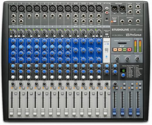 Mezclador 8 canales mono, 4 canales estéreo, 12 preamps de micrófono, eq. de 3 bandas, Phantom de +48 V, 16 efectos digitales, transmisión Bluetooth 4.1, grabadora de tarjeta SD integrada y software Studio One Artist 3