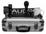 Kit de 3 micrófonos dinámicos cardioides para batería, con 3 clip, y maleta de aluminio. Incluye 1 D6  (bombo), 1 i5 (caja/toms) y un OM2 + Accesorios