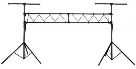 Estructura Aluminio con 2 tripodes, ajuste de altura hasta 2.8 mts, largo 3 mts, capacidad de carga max. 100 kgs