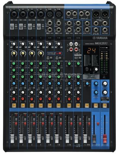 Mezclador analógico de 12 canales con 6 preamplificadores de micrófono, 4 canales de línea estéreo dedicados, 2 envíos auxiliares, ecualizador, compresores de 1 botón y efectos digitales