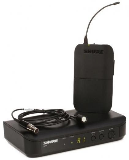 Sistema inalámbrico lavalier de la serie BLX con micrófono lavalier condensador cardioide CVL, parabrisas y sujetador, transmisor de cuerpo y receptor