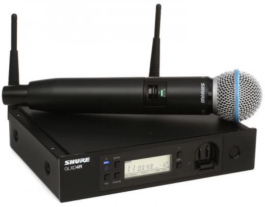 Sistema inalámbrico digital avanzado GLX-D con micrófono de mano GLXD2 / BETA58A con transmisor, receptor GLXD4R para montaje en rack, batería de iones de litio y accesorios - 2.4GHz