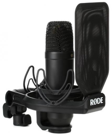 Micrófono de condensador cardioide de diafragma extremadamente bajo con ruido, combinación de SRM Shock Mount y Pop Screen
