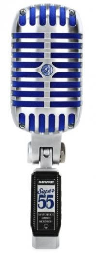 Micrófono vocal dinámico de estilo vintage con patrón polar supercardioide, caja cromada y soporte giratorio incorporado