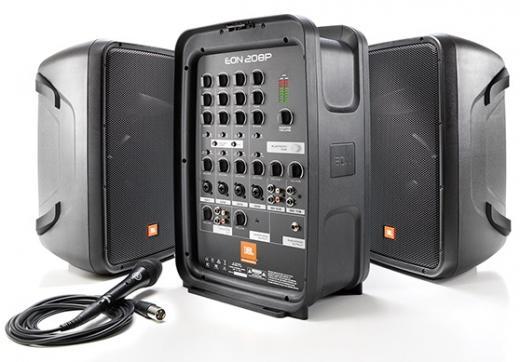 PA todo en uno, compacto de 300 W con mezclador de 8 canales y altavoces dobles de 2 vías