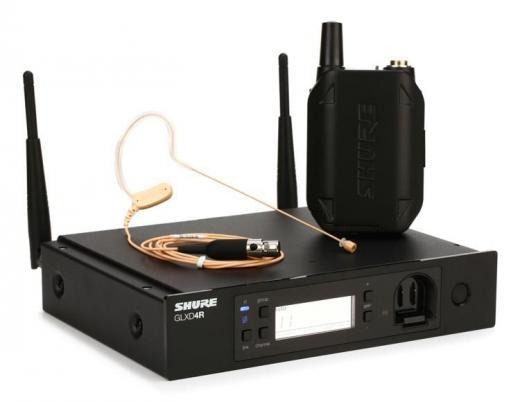 Banda de frecuencia de 2.4 GHz, transmisor de cuerpo inalámbrico GLXD1, receptor GLXD4R para montaje en rack, MX153T Earset Headworn Microphone, incluye batería de iones de litio SB902