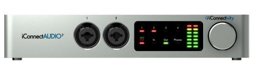 Interfaz de audio USB 2 x 6 con 2 entradas combinadas XLR / TRS, 4 salidas TRS, salida de auriculares, entrada / salida MIDI y convertidores A / D de 24 bits / 96 kHz