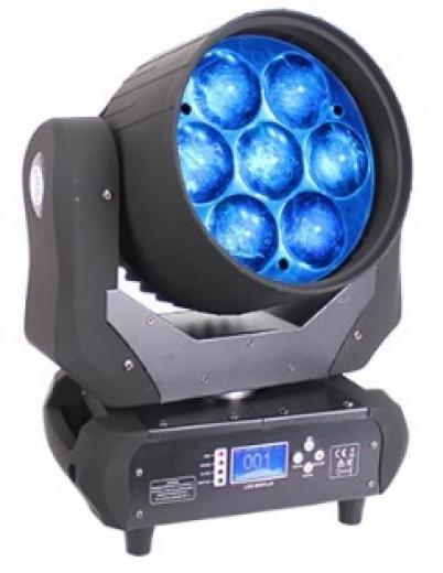 Consumo de energía: 320W, Fuente de luz: 7 Led de 40W RGBW 4 en 1, 14 Canales DMX
