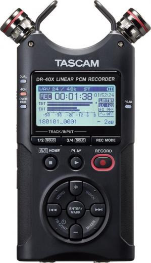 Grabadora de mano de 4 canales e interfaz de audio USB de 2 entradas / 2 salidas, con 2 micrófonos de condensador, 2 entradas combo XLR / TRS y alimentación phantom