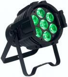 Fuente de luz: 7 * 10W (RGBW 4 en 1), Tiempo de vida 50000 horas, Ángulo de haz: 25 °, panel de control: display LED Digital