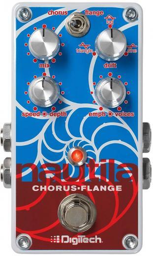 Pedal de efectos Chorus y Flanger para guitarra eléctrica y teclados, con controles de velocidad, profundidad, énfasis, voces, deriva y mezcla