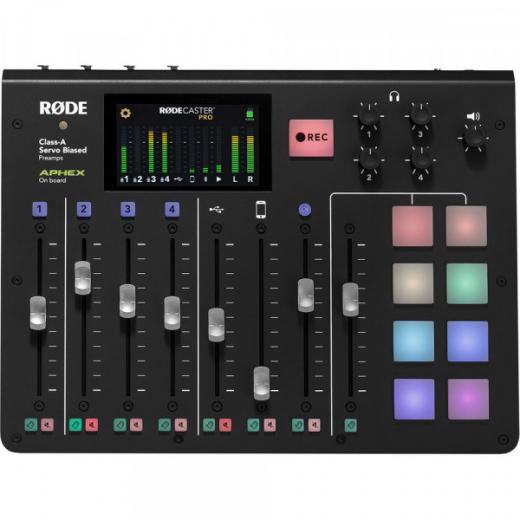 Estudio de producción integrado de podcasts con 4 preamplificadores de micrófono clase A, 8 faders, 8 almohadillas programables, USB a host y Bluetooth - Mac / PC